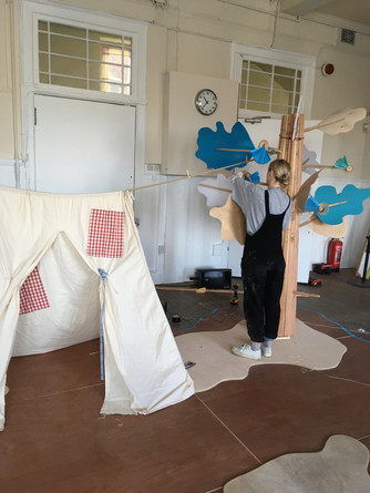 Spring-y set build for Hopscotch theatre