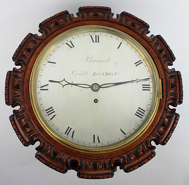 Barraud Cornhill London walnut silvered dial wall clock antique
