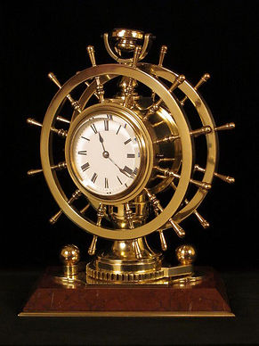 Redier French antique ships mystery clock