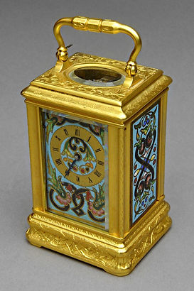 Drocourt Paris French carriage clock miniature enamelled panels