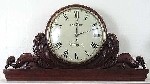 Carlton Torquay mahogany convex dial wall clock pediment antique fusee