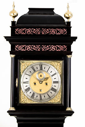WilliamTomlinson London ebonised eight day antique longcase clock Tompion 18th century caddy top