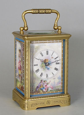 A French porcelain panelled carriage clock