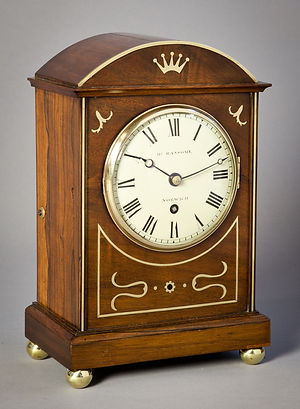 Ransome Norwich small mahogany bracket clock fusee antique