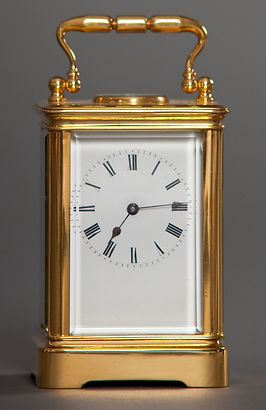 Miniature French carriage clock with compass