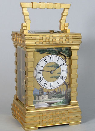 rare French carriage clock with painted porcelain dial