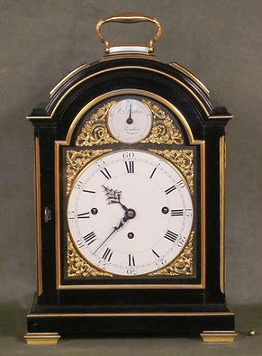 William Dutton London ebonised bracket clock antique