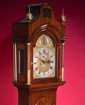 Thomas Battely London  mahogany antique longcase grandfather clock eight day striking brass dial pagoda top