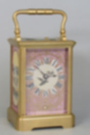 Porcelain panelled French carriage clock