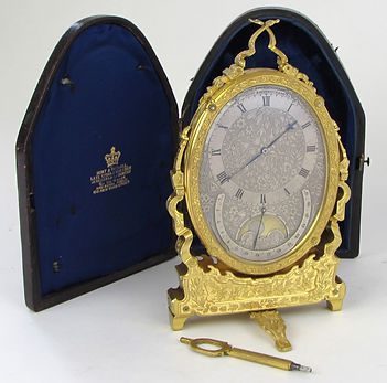 Thomas Cole moonphase strut easel clock with calender hunt and roskell