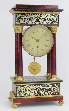 Viner London tortoseshell portico fusee bracket clock antique