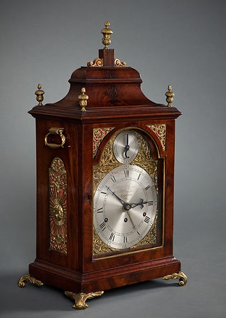 Gilbertson ripon John Taylor London mahogany three train quarter chiming bracket clock verge escapement