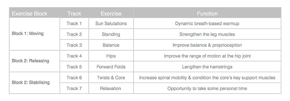 Here's the yogame™  classic class structure - same as yogame™   sport only longer!
