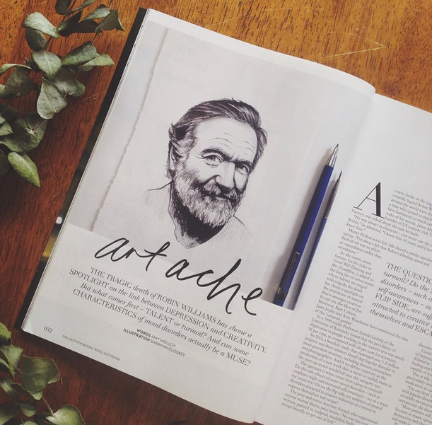 Sketch of Robin Williams features in Issue 14 of The Collective magazine shortly after his death.