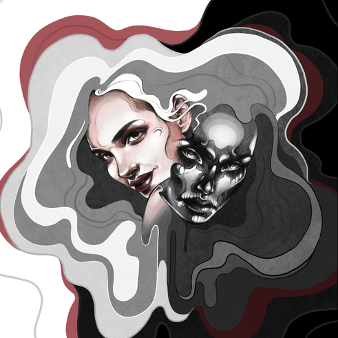 Custom cover illustration (graphite + digital) for The Brow's split single release, 2015.