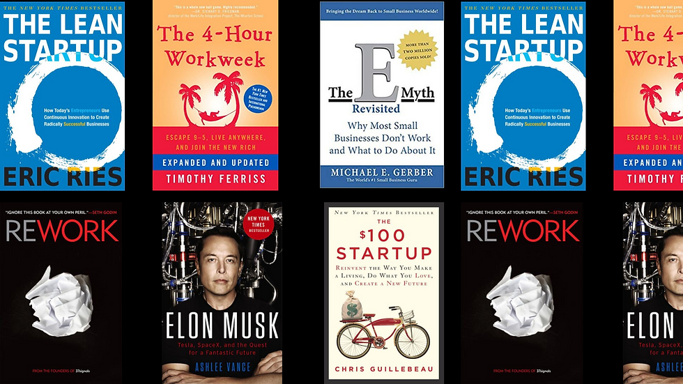 Mentor tips background image. Picture of multiple business books like 4 hour work week, The E-Myth, The $100 Startup, Rework, Lean Startup, Elon Musk.