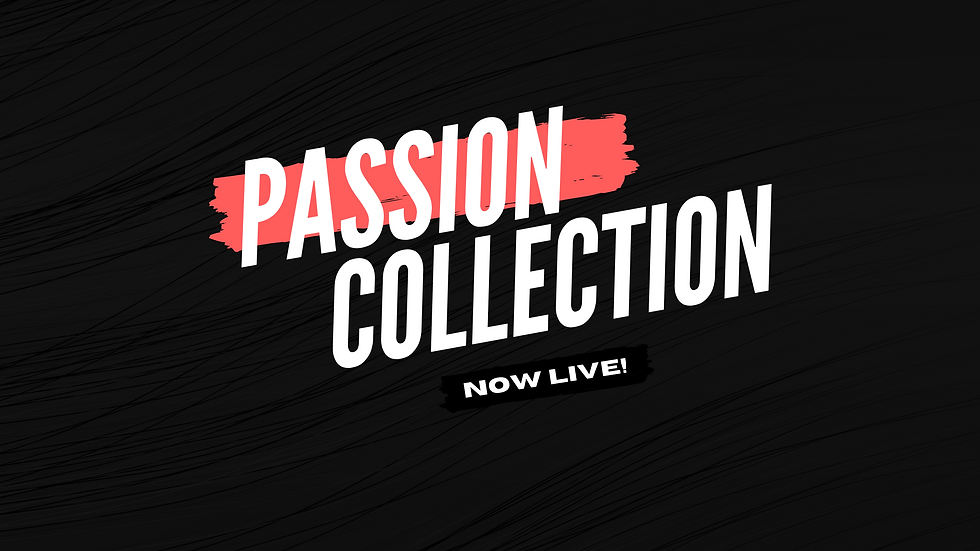Passion collection shop banner for Hustle Outlet.