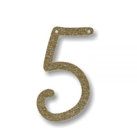 """Bunting in acrilico glitter oro """"5"""""""