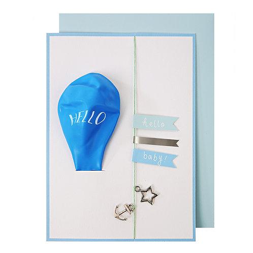 Hello Boy Balloon Card