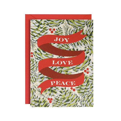Biglietto di Auguri Natale Joy Love Peace