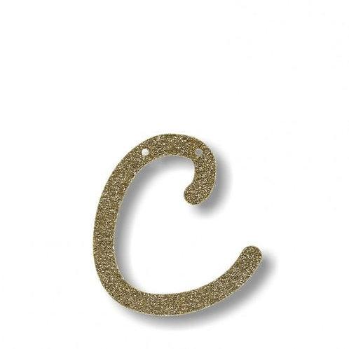 """Bunting in acrilico glitter oro """"C"""""""