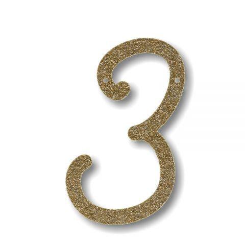 """Bunting in acrilico glitter oro """"3"""""""