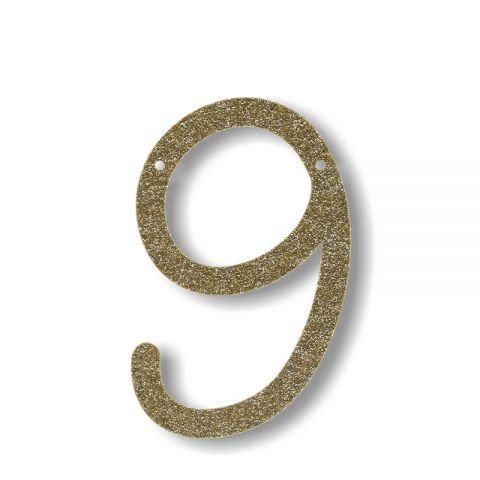 """Bunting in acrilico glitter oro """"9"""""""