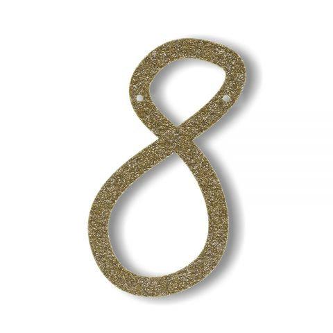 """Bunting in acrilico glitter oro """"8"""""""