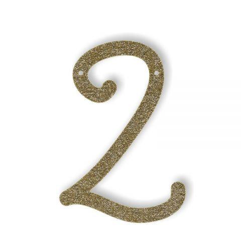 """Bunting in acrilico glitter oro """"2"""""""