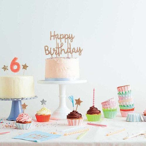 Cake Topper Happy Birthday Oro