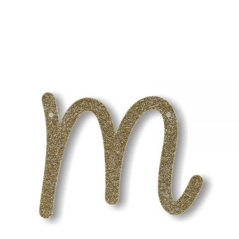 """Bunting in acrilico glitter oro """"M"""""""
