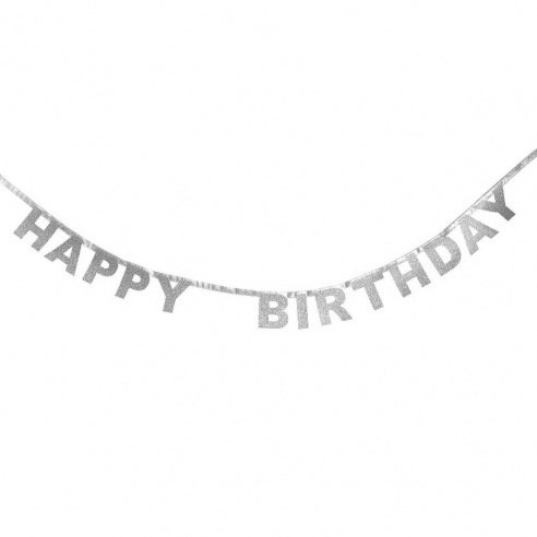 Ghirlanda Happy Birthday Argento