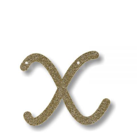 """Bunting in acrilico glitter oro """"X"""""""