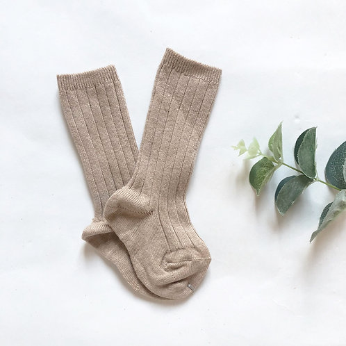 Taupe Cotton Ribbed Knee High Sock