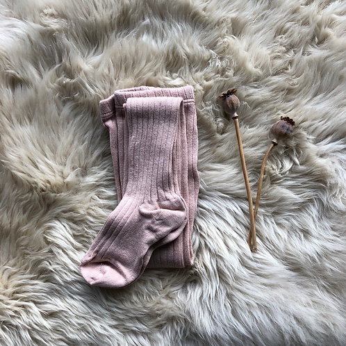 Antique Rose Ribbed Tights