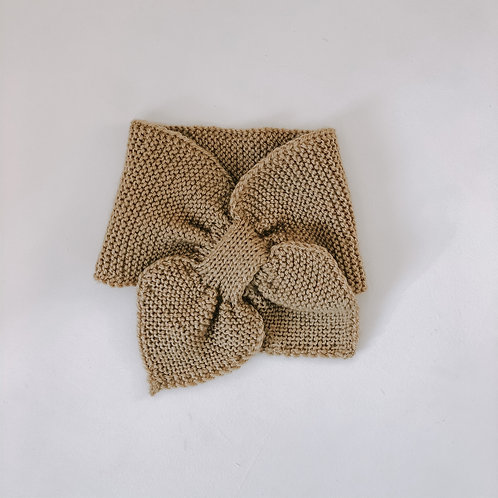 Hand knitted scarf - camel