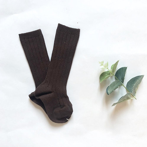Chocolate Cotton Ribbed Knee High Sock