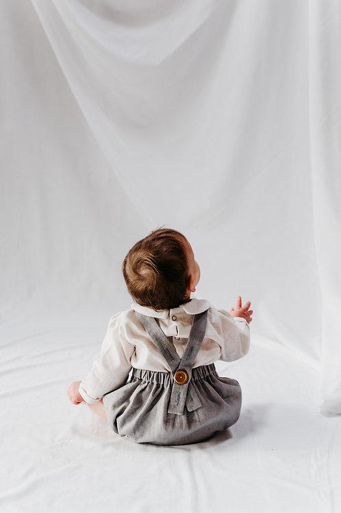 Pixie romper in flint grey linen
