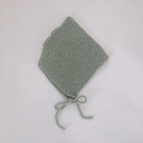 Hand knitted bonnet - Sage