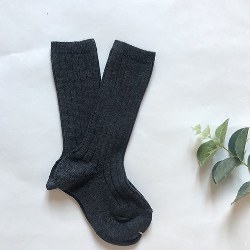 Charcoal Cotton Ribbed Knee High Sock