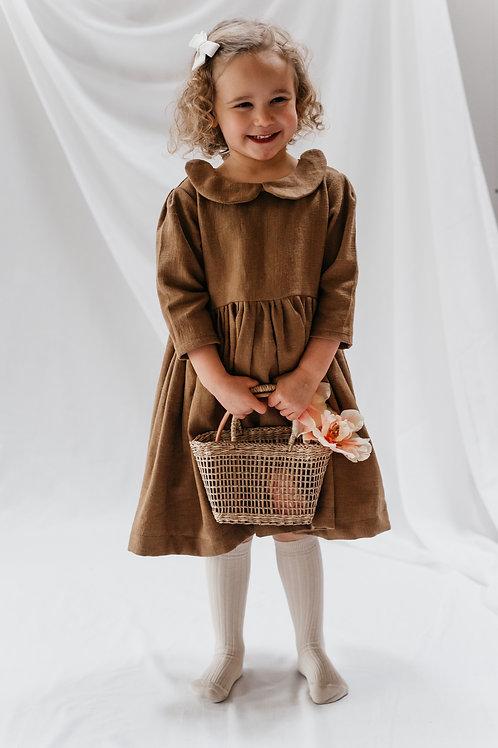 Ophelia dress in ochre linen.