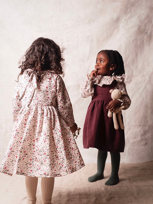 Penny Pinafore Dress , Plum Linen