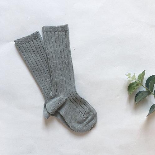 Jade Grey Cotton Ribbed Knee High Sock