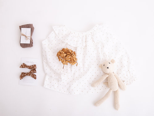 Ettie Blouse, Hazelnut Dot