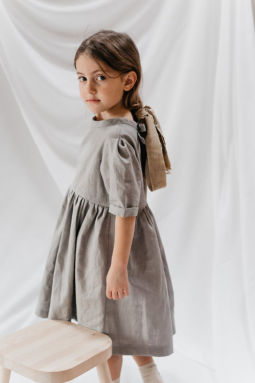 Joanie dress in flint grey linen.