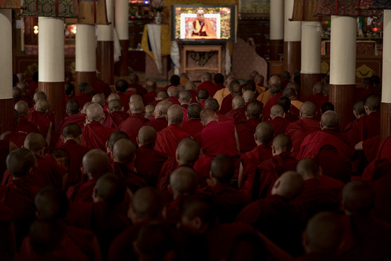 """""""Mcleod Ganj es un lugar ubicado en las colinas de Dharamshala, Himachal Pradesh o estado del Himalaya. Allí se encuentra la residencia de su santidad, el XIV dalai Lama Tenzin Gyatso, y el hogar para más de 11.000 tibetanos que viven en el exilio. También es el centro cultural y político del Tíbet en el exilio. Los días allí son tranquilos, atípicos y atemporales; la atmósfera es pacífica y de tratos nobles y corteses, se puede experimentar la profunda realización de liberación y paz en el corazón de sus habitantes, en las calles y las personas hay mística.  Regularmente, su Santidad XIV Dalai lama Tenzin Gyatso visita Tsuglagkhang en Mcleod Ganj, Dharamsala. Este uno de los complejos espirituales más importantes para el Budismo tibetano. Allí se reúne con la comunidad tibetana en el exilio para compartir conocimiento, realizaciones, iniciaciones y una ampliación de la cosmovisión y práctica Budista. Más de 6000 personas entre lamas, monjes novicios, extranjeros y admiradores allegados a la práctica y filosofía Budista se encuentran en el monasterio; todos van a ver y a escuchar a Su Santidad Dalai Lama, él representa un corazón compasivo y sabiduría para su pueblo. Día a día, se percibe la mística, la paz, la armonía entre otras sensaciones, y se vive una atmósfera, más que serena, fresca. Su santidad aborda, entre otros, temas como la importancia de reflexionar sobre las falsas concepciones del ego falso y el Yo en pro de establecer relaciones ecuánimes y compasivas, más empáticas consigo mismo y con lo demás. Por ese camino quizá la liberación, quizá una sonrisa""""."""