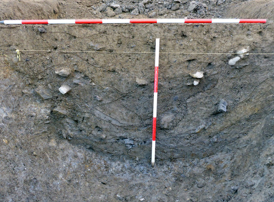 Cross section of a ditch
