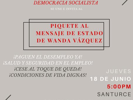 Piquete al mensaje de Estado de Wanda Vázquez