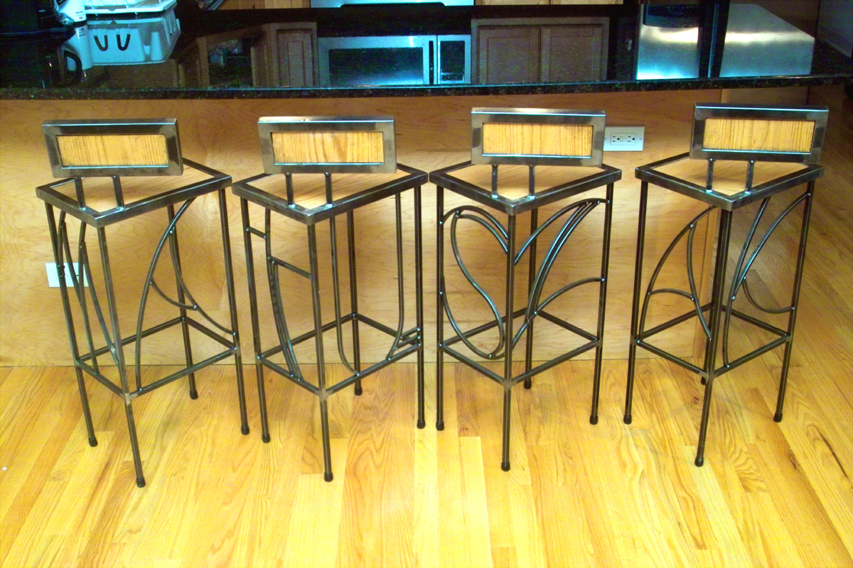 Oak and steel stools