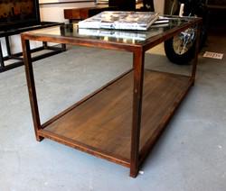 Reclaimed wood glass steel